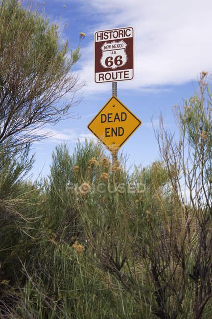 Route 66 e sinais de beco sem saída, New Mexico, Estados Unidos — Fotografia de Stock