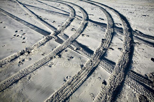 Trilhas e pegadas do pneu na areia, frame cheio — Fotografia de Stock