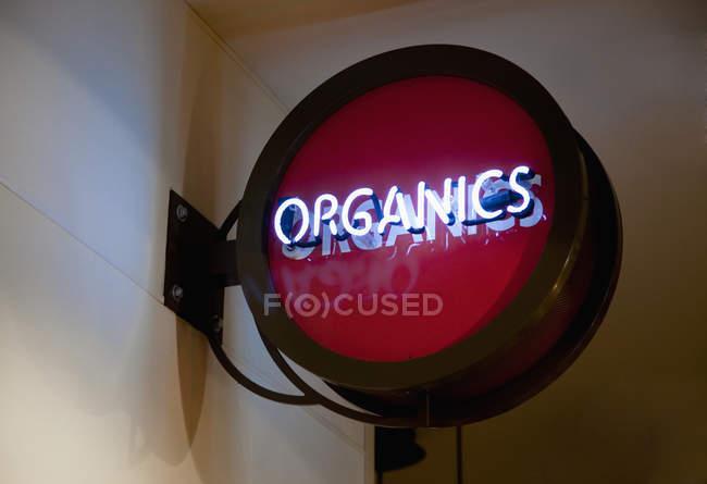 Sinal redondo vermelho dos Organics, New York City, New York, Estados Unidos — Fotografia de Stock