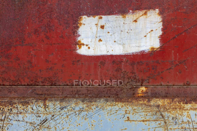 Scratches and rust markings on old metal wall. — Stock Photo