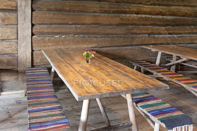 Wooden Dining Tables In Leisure Area Altja Estonia Old Rustic Stock Photo 274752306