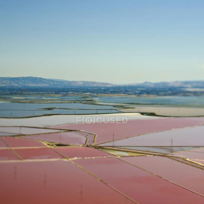 Заплавні сільськогосподарські угіддя з візерунковими полями, округу Санта-Клара, Каліфорнія, США — стокове фото