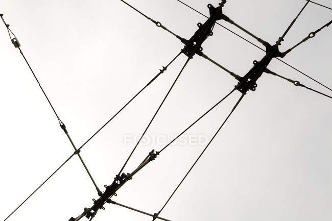 Cables for public transportation in low angle view — Stock Photo