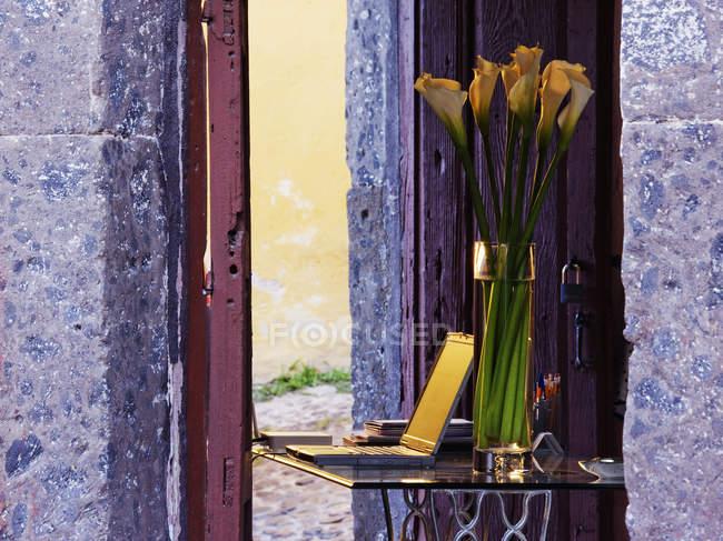 Калла лілії на столі в приміщенні, Сан-Мігель-де-Альєнде, Гуанахуато, Мексика — стокове фото