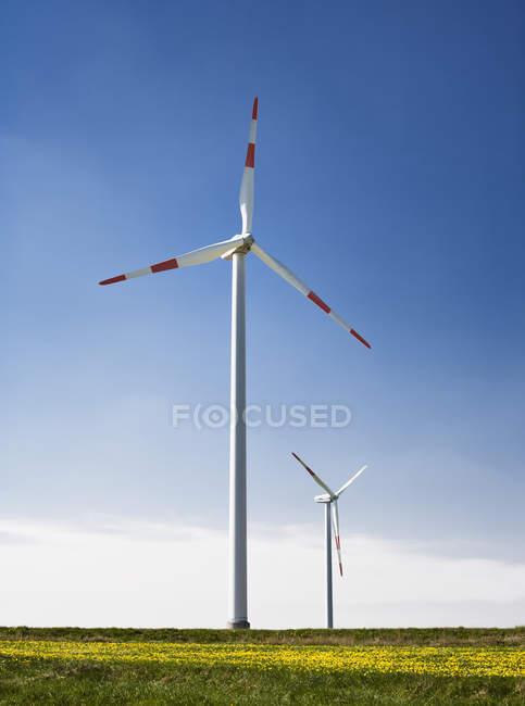 Turbinas eólicas rodando no campo rural — Fotografia de Stock