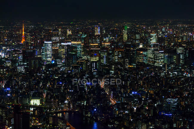 Вид с воздуха на освещенный городской горизонт ночью, Токио, Япония . — стоковое фото