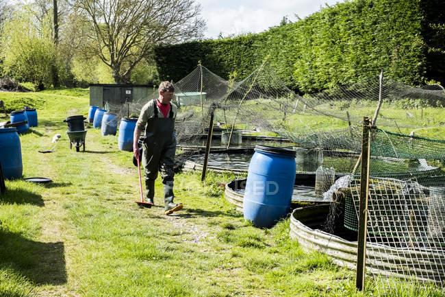 Hombre en waders caminando junto a tanques de agua en la granja de peces. - foto de stock
