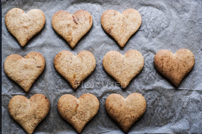 High angle close-up of freshly baked heart-shaped cookies on baking paper. — Stock Photo