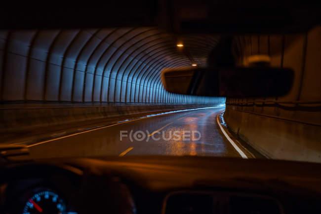 Driver pov through window in road tunnel, Lofoten Islands, Norway, Europe. — Stock Photo