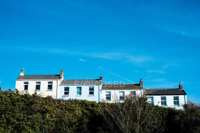 Vista esterna di fila di cottage bianchi dietro la siepe, Cornovaglia, Inghilterra, Regno Unito . — Foto stock