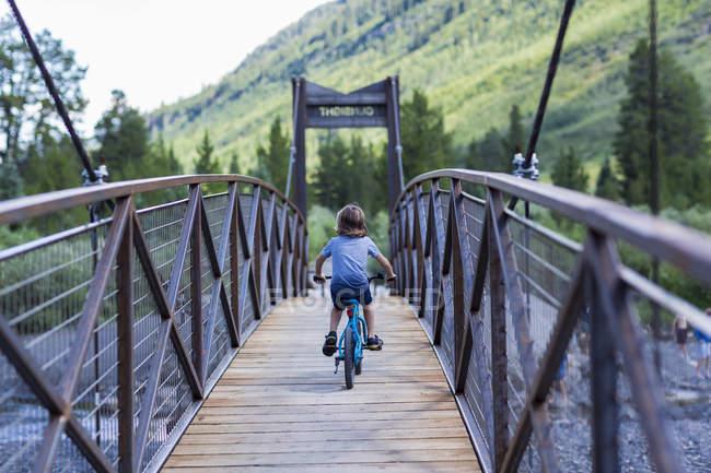 Rear view of elementary age boy on mountain crossing narrow bridge. — Stock Photo