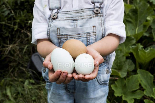 Primo piano della ragazza in piedi all'aperto, tenendo le uova appena deposte in mano . — Foto stock
