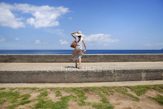 Giapponese donna indossare cappello in piedi su un muro da oceano . — Foto stock