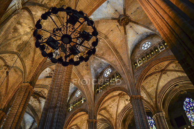 Low angle interior view of vaulting, Cathedral of the Holy Cross and Saint Eulalia, Barcelona, Catalonia, Spain. — Stock Photo
