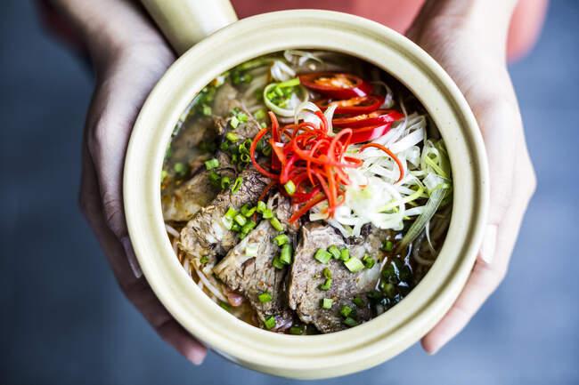 Под высоким углом руки держат миску с азиатским супом с рисовой вермишелью, говядиной и гарниром чили. — стоковое фото