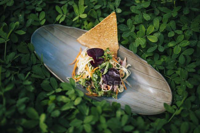 Високий кут зблизька бананового квіткового салату з м'ясом качки та травами.. — стокове фото