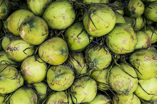 High angle close-up of green coconuts piled high at street side market. — Stock Photo