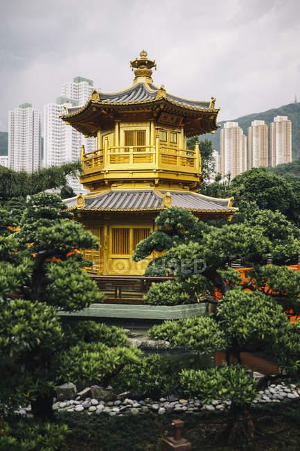 Vista exterior do templo dourado cercado por árvores, arranha-céus à distância, Hong Kong, China — Fotografia de Stock