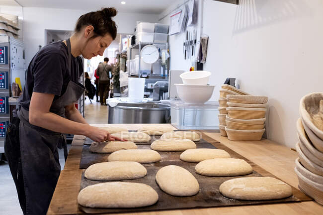 Woman wearing apron standing in an artisan bakery, shaping sourdough loaves for baking. — Stock Photo