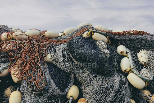Pile of commercial fish nets and gill nets, Fishermens Terminal, Seattle, Washington — Stock Photo