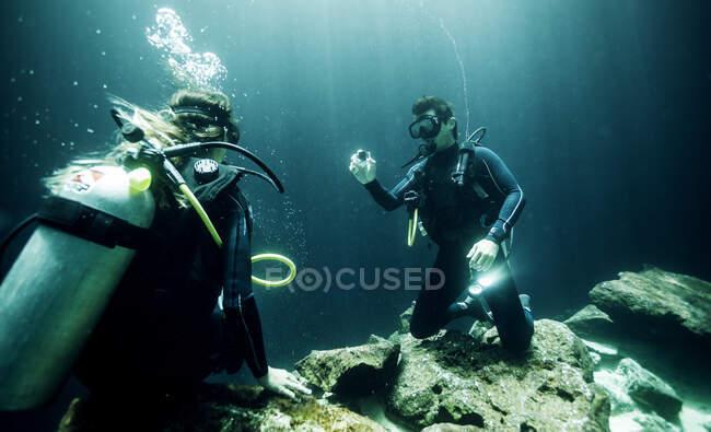 Vista subacquea di due subacquei che indossano mute, occhiali subacquei e bombole di ossigeno. — Foto stock