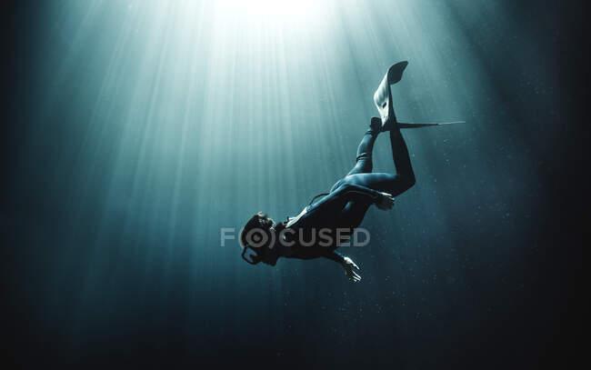 Vista submarina del buceador con traje de neopreno y aletas, la luz del sol se filtra desde arriba. - foto de stock