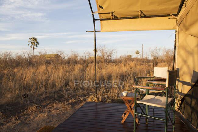Camp de tentes dans le désert du Kalahari — Photo de stock