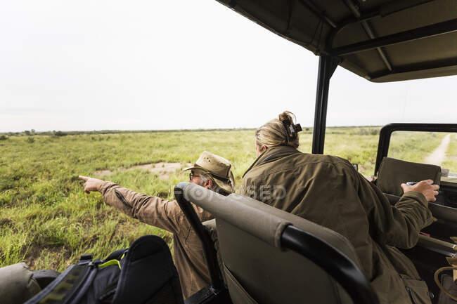 Взрослая женщина и гид-сафари, смотрящие издалека на животных. — стоковое фото