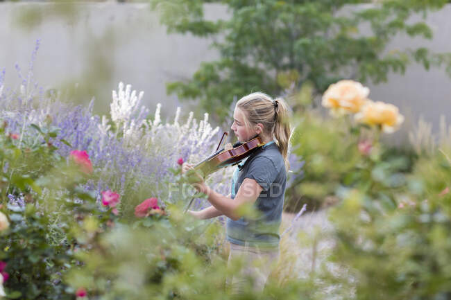 Teenage girl standing among flowering roses and shrubs, playing a violin — Stock Photo
