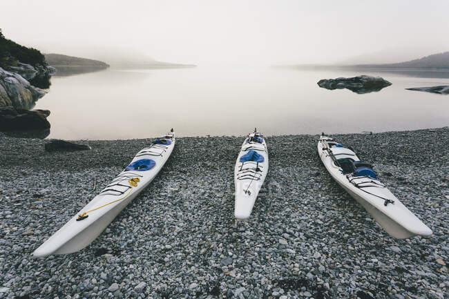Three sea kayaks pulled up into shoreline of secluded cove in Muir Inlet, overcast sky in distance, Glacier Bay National Park, Alaska — Stock Photo