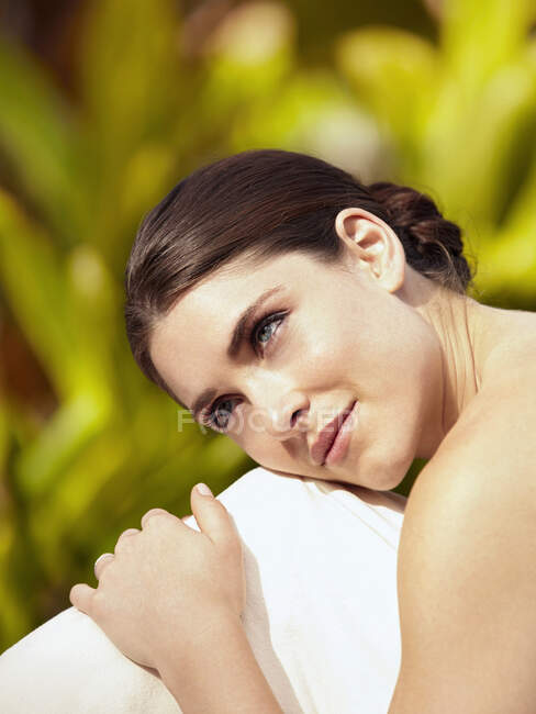 Caucasian woman waiting for massage — Stock Photo