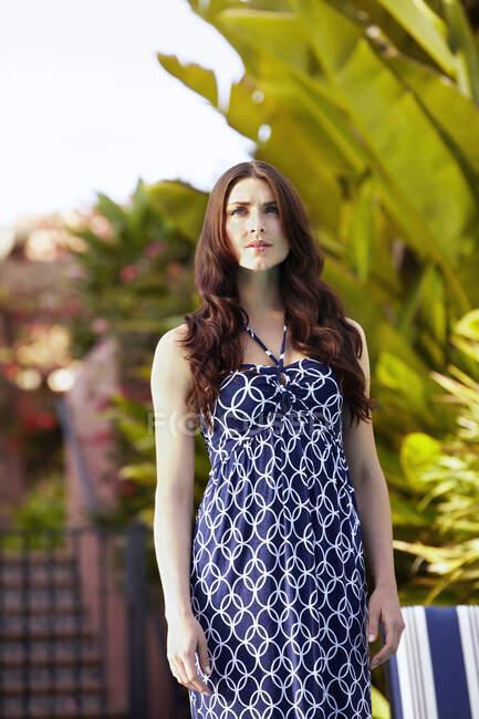 Caucasian woman standing outdoors — Stock Photo
