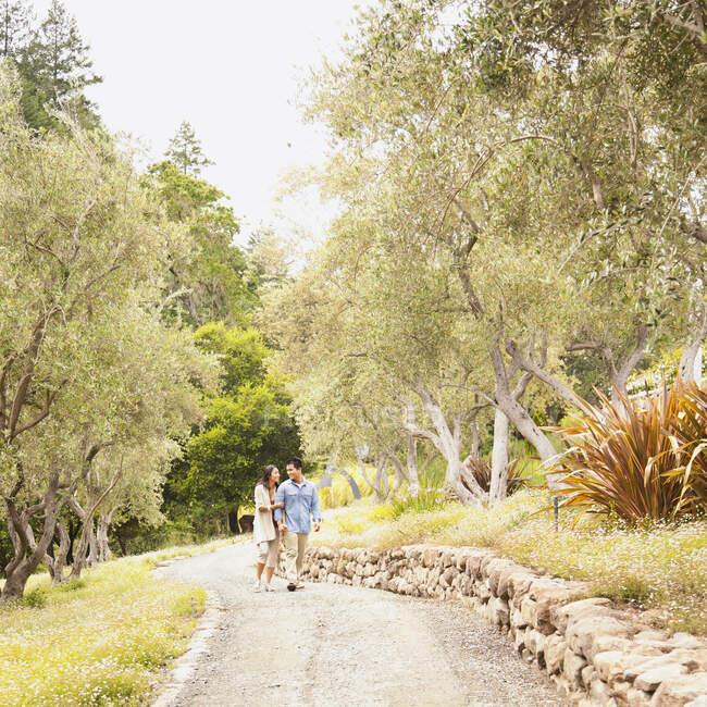 Ampla foto de casal chinês de mãos dadas andando no caminho na região vinícola da Califórnia — Fotografia de Stock