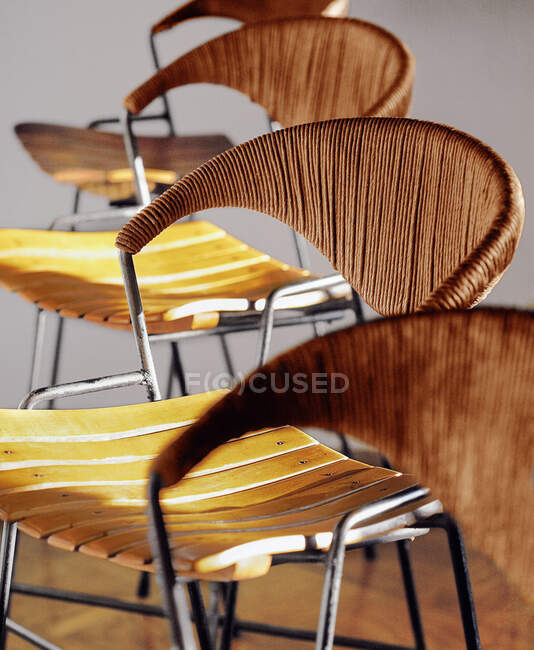 Close-up view of empty bamboo chairs, selective focus — Stock Photo