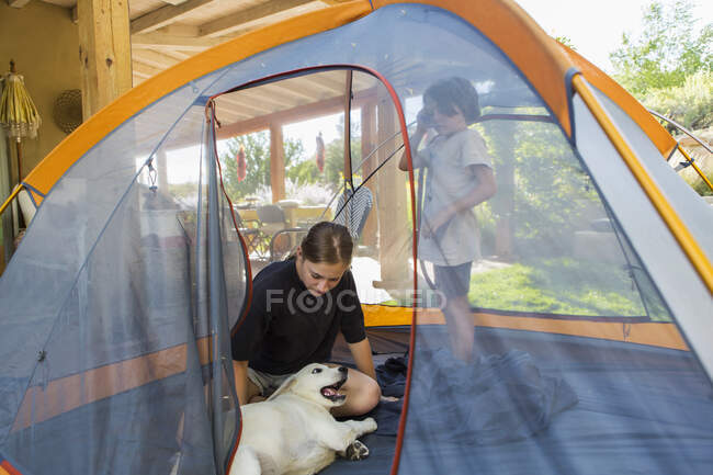 Teenage girl and her younger brother setting up tent on green lawn — Stock Photo