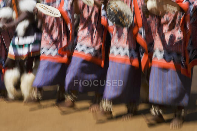 Close up of dancers wearing traditional dress, Kingdom of Eswatini, Southern Africa. — Stock Photo