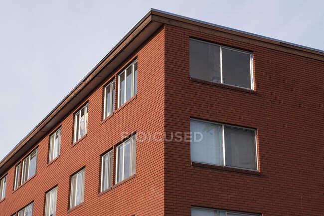Куточок будівлі, вигляд з низьким кутом, вікна рядами, житлові або комерційні. — стокове фото