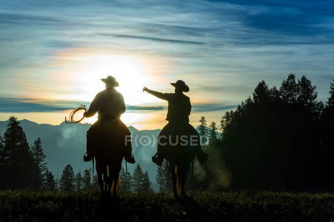 Dos vaqueros cabalgando por pastizales con montañas en el fondo, temprano en la mañana - foto de stock