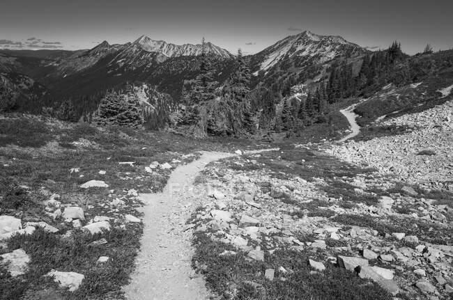 Вид на тропу Тихоокеанского креста вдоль отдаленного хребта — стоковое фото