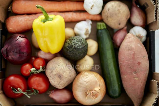 Коробка свежих органических овощей, вид крупным планом — стоковое фото