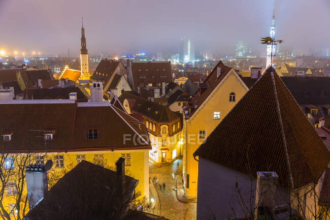 View of Old Town at dusk, from Toompea Hill, Tallinn, Estonia — Stock Photo