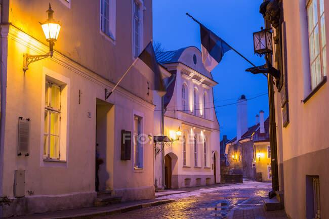 Estonian flags, Old Town, Talinn, Estonia — Stock Photo