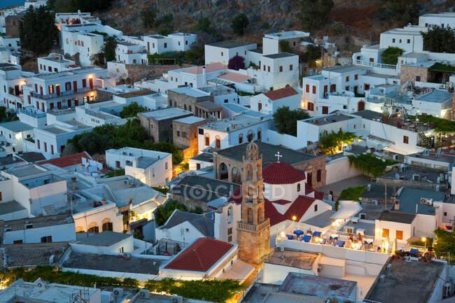 Dusk, Lindos, Rhodes Island, Dodecanese Islands, Greece — стоковое фото