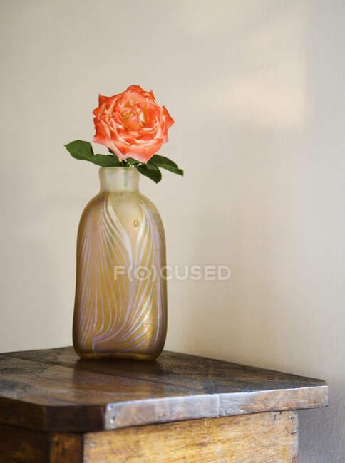 Роза в стеклянной вазе на деревянном столе. — стоковое фото