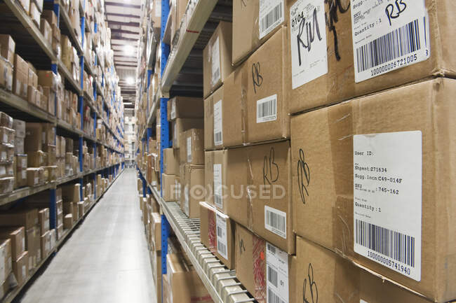 Cardboard boxes on tall shelves in warehouse and long empty aisles reaching into the distance. — Stock Photo