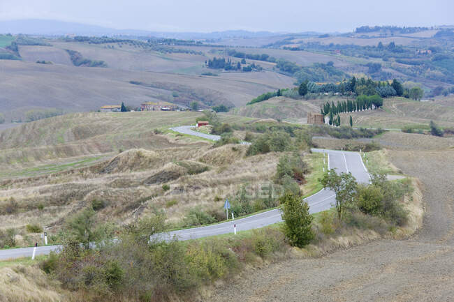 Strada nel paesaggio collinare rurale. — Foto stock