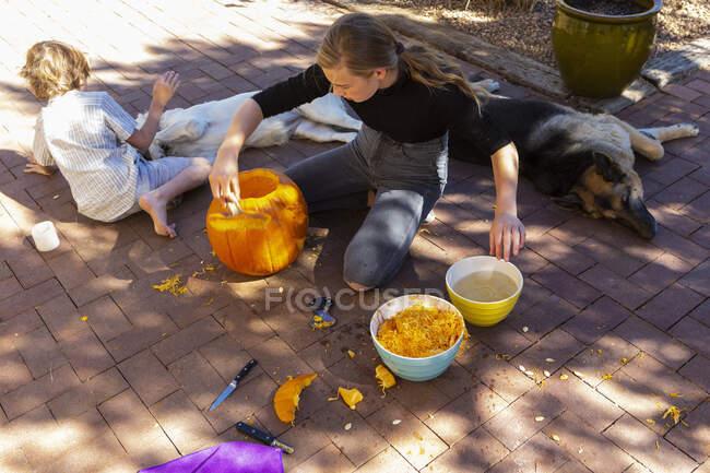 Ragazza adolescente e suo fratello minore intaglio zucche sul patio. — Foto stock