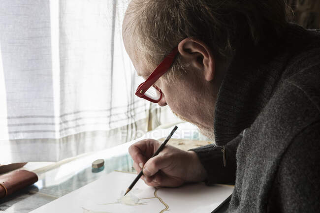 Mature artist at work drawing on paper, a wildlife study of birds. — Stock Photo