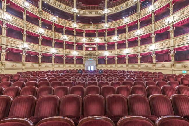 Interior of the Teatro Verdi, red velvet seats in the auditorium, Trieste, Italy. — Stock Photo