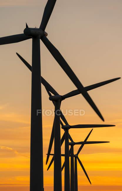 Générateurs d'énergie éolienne sur le parc éolien — Photo de stock